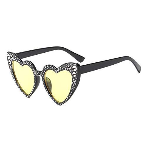 Classique protectrices Style Jaune1 Love soleil En Heart lunettes Rétro de Glasses Meijunter Lunettes UV Lunettes Polarisé Élégant de chat Protection de Oeil forme gBXqwdZ