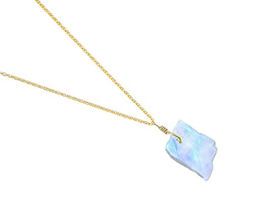 Raw Moonstone Pendant Necklace Natural Gemstone Crystal Handmade Dainty Jewelry 14K Gold Fill 925 Sterling Silver Chain