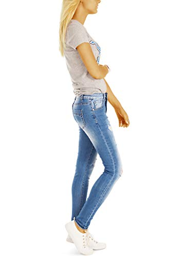 Superenge Damen Destroyed j10ka Jeans Blau R SkinnyJeans Look BestyledBerlin Fit aufgerissene hrenjeans Skinny Stretch ERqWp