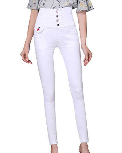 Bianco Matita Pantaloni Slim Vita Jeans Alta Stretch Donne a g8U4wqaR