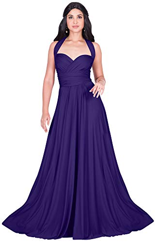 (KOH KOH Petite Womens Long Bridesmaid Multi-Way Wedding Convertible Wrap Infinity Cocktail Sexy Summer Party Formal Prom Transformer Gown Gowns Maxi Dress Dresses, Indigo Blue Purple XS 2-4 )