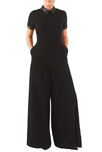eShakti Women's Faux leather trim cotton knit jumpsuit 1X-18W Tall Black