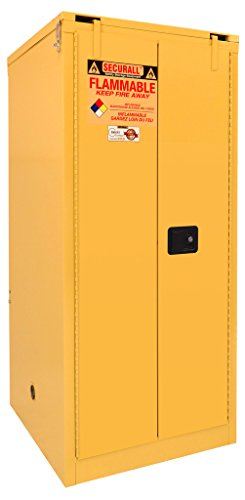 SECURALL A360 Flammable Storage Cabinet, 15 YR Warranty, 67 x 31 x 31, 2-Door, 60-Gal, Self-Close, Self-Latch Safe-T-Door, FM Approved, SMaRT Certified, OSHA Comp.- Yellow