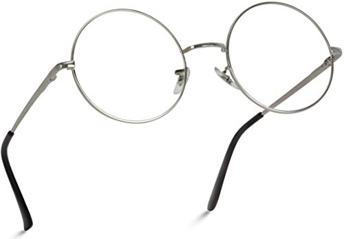 Round Clear Metal Frame Glasses (Silver, 52)