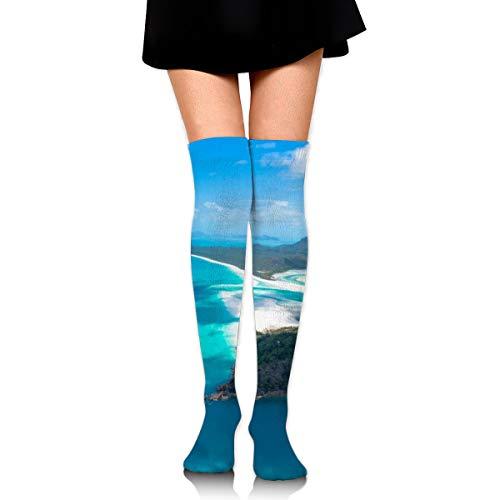 PengMin Blue Sea Island Mountain Cotton Compression Socks for Women. Graduated Stockings for Nurses, Maternity, Travel, Flight,Varicose Veins,Running & Fitness, Calf Support.