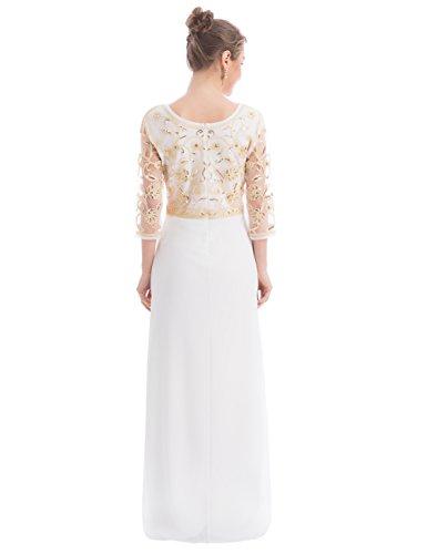 MANER Women Chiffon Beaded Sequin 3/4 Sleeve Long Gowns Prom Evening Bridesmaid Dress