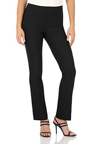 Rekucci Women's Ease in to Comfort Straight Leg Pant with Tummy Control (8,Black)