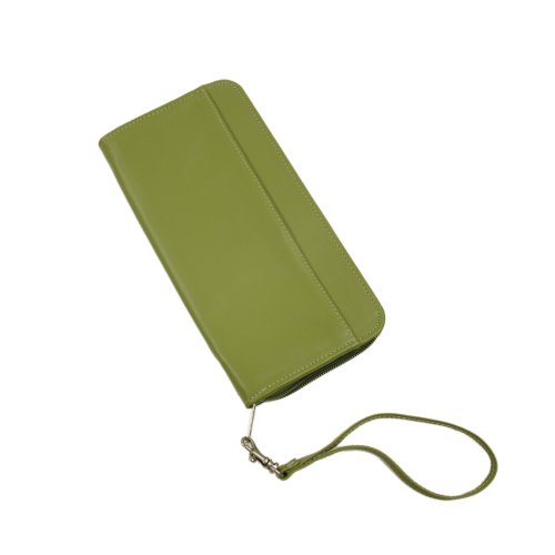 Piel Leather Zippered Passport Ticket Holder, Apple, One Size