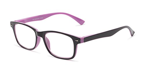 Readers.com The Leopold +6.50 Purple and Black High Power Two-Tone Up to +7.00 Retro Square Reading - Fairwind Sunglasses