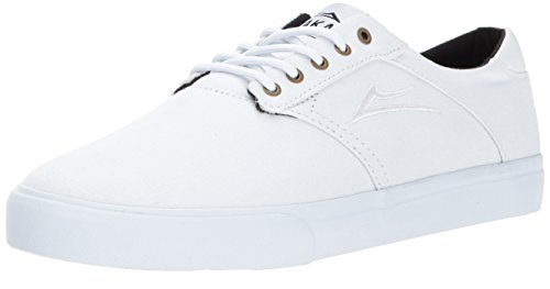 Lakai Mens Skateboard Shoe - Lakai Men's Porter Skate Shoe, White/White Canvas, 10.5 M US