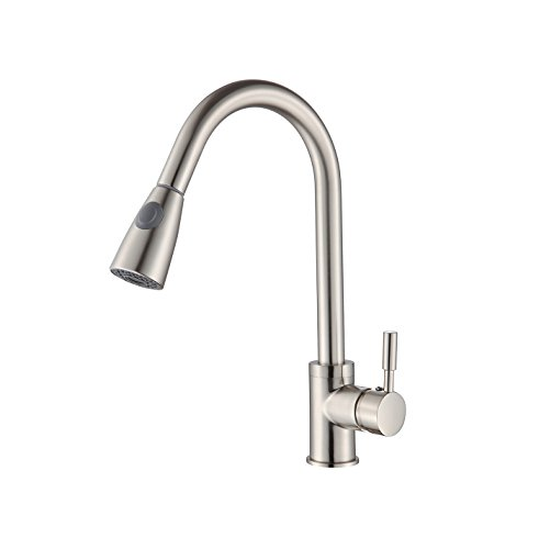BuyHive Kitchen Faucet Brushed Nickel Pull Out Sprayer Commercial Home Sink Mixer Tap Single Handle by BuyHive
