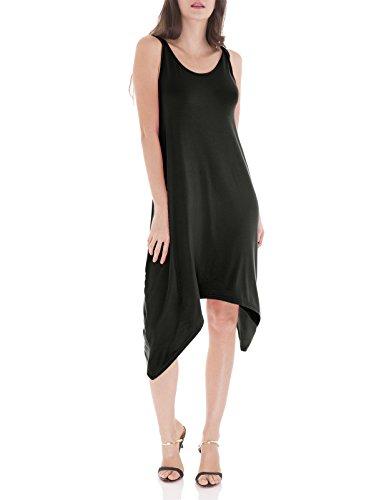 H2H Women's Loose Fit Scoop Neck Sleeveless Unbalanced Length Tunic Dress Black US XL/Asia XL (CWDSD0144)