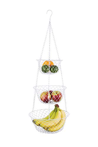 Fox Run Brands 3 Tier Hanging Fruit Vegetable Kitchen Storage Mesh Basket - Various Colors (3 Tier Hanging Fruit Vegetable Kitchen Storage Basket)
