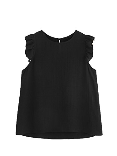 Floerns Women's Summer Round Neck Sleeveless Frilled Keyhole Shirt Blouse Top Black (Chiffon Ruffle Sleeveless)