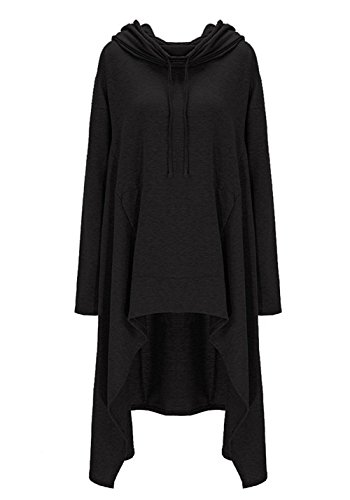 Shineya Women's Solid Color Pullover Hoodie Asymmetric Hem Sweatshirts Dress S-6XL Black 2XL-Large