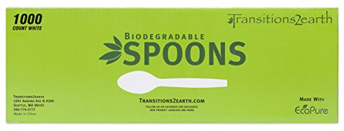 Transitions2earth Biodegradable EcoPure Lightweight Spoons - Box of 1000