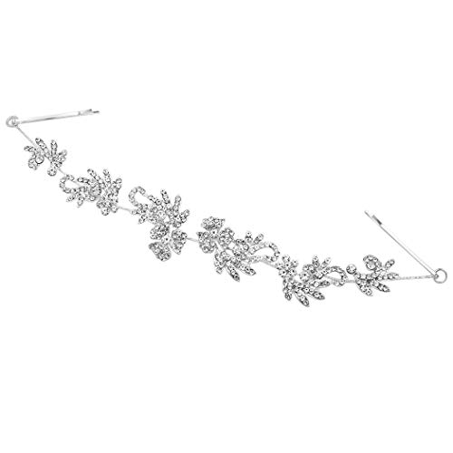 (Rosemarie Collections Women's Stunning Silver Tone Floral Glass Crystal Rhinestone Bridal Wedding Headpiece Back Style Hair Vine Wrap with Bobby Pins)