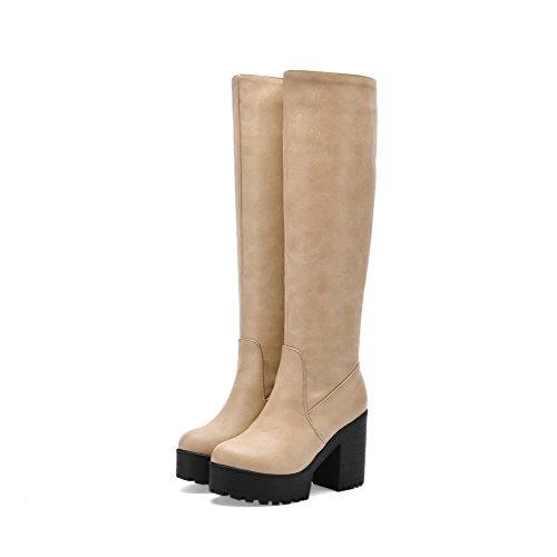 AllhqFashion Damen Hoher Absatz Weiches Material Hoch-Spitze Reißverschluss Stiefel Aprikosen Farbe