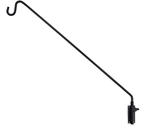 Gray Bunny GB-6832 Heavy Duty Extended Reach Wall Mounted Deck Hook/Wall Pole, 37 Inch, Black, Wall Bracket for Bird Feeders, Planters, Suet Baskets, Lanterns, Wind Chimes and More! ()