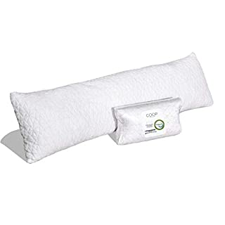 Coop Home Goods - Adjustable Body Pillow - Hypoallergenic Cross-Cut Memory Foam – Perfect for Pregnancy - Lulltra Zippered Washable Cover - CertiPUR-US and GREENGUARD Gold Certified - 20x54
