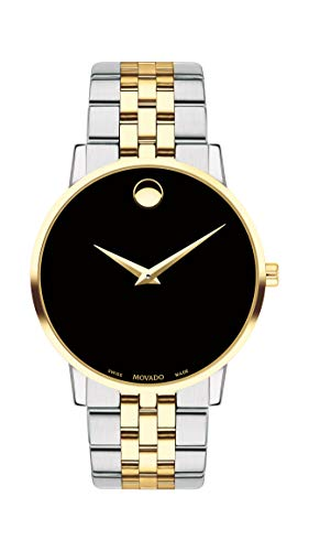 - Movado Men's Museum Two Tone Watch with a Concave Dot Museum Dial, Gold/Silver/Black (Model 607200)