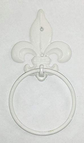 """""""ABC Products"""" - Heavy Cast Iron - Towel Ring - With Vintage Style Fluer-de-lis At The Top - Use For Hanging Towels, Wash cloth and Etc. - (White Gloss Finish - Wall Hung With Two Screws)"""