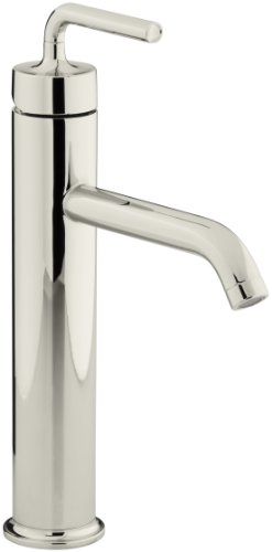 KOHLER K-14404-4A-SN Purist Tall Single-Control Lavatory Faucet, Vibrant Polished Nickel (Hole Polished Nickel Single)