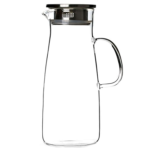 Milk Glass Strawberry (Cupwind 50 oz Borosilicate Glass Hot/Cold Water Carafe Tea Pitcher with Stainless Steel Infuser Lid)