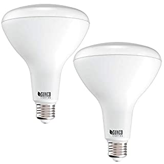 Sunco Lighting 2 Pack BR40 LED Bulb, 17W=100W, Dimmable, 6000K Daylight Deluxe, 1400 LM, E26 Base, Indoor Flood Light for Cans - UL & Energy Star