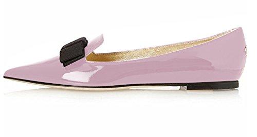 Eldof Women's Comfortable Bow Point Toe Flat Pumps Slip On Shoes Lavender US9