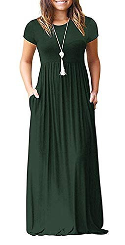 GULE GULE Women Empire Waist Short Sleeve Summer Plain Long Casual Maxi Dress ()