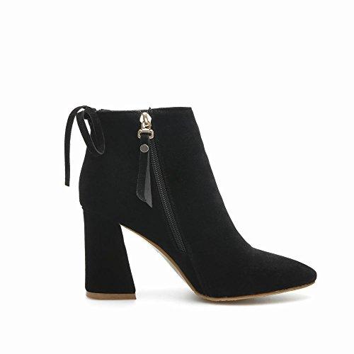 Mee Shoes Damen Nubukleder chunky heels spitz Ankle Boots Schwarz