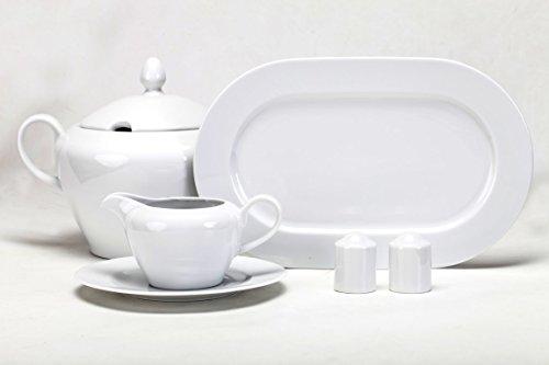 r Vajilla 12 Servicios de Porcelana Modelo Nadia Blanco 56 Piezas: Amazon.es: Hogar