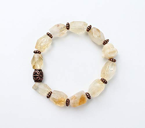 (Faceted Chunky Citrine Crystal Bracelet with Laughing Buddha Bead Free Shipping Gift Bag )
