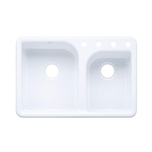 KOHLER K-5948-4-0 Efficiency Self-Rimming Kitchen Sink, White