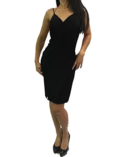 ENVY BODY SHOP Women's Spaghetti Strap Backless Wrap Beach Dress Bikini Cover Up (Black)
