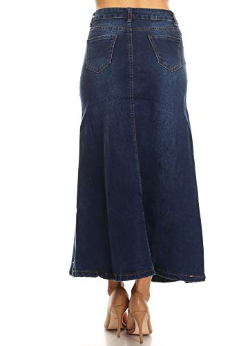 63f444bdceb Women s Juniors Mid Rise A-Line Long Jeans Maxi Denim Skirt in Dark Blue  Size