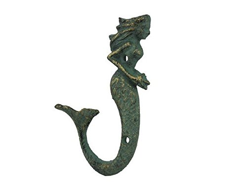 Handcrafted Decor K-838A-bronze Antique Bronze Cast Iron Decorative Mermaid Hook, 7 in.