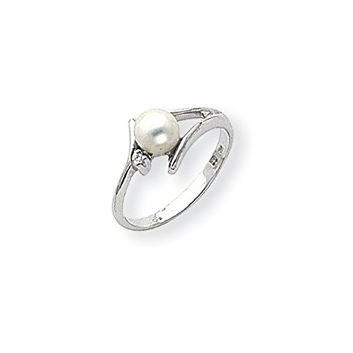 14kt Ring Pearl Gold Ladies (ICE CARATS 14kt White Gold 5mm Freshwater Cultured Pearl Diamond Band Ring Size 6.00 Fine Jewelry Ideal Gifts For Women Gift Set From Heart)