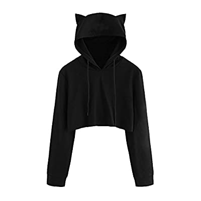 Challyhope Women Cute Cat Ear Hoodie Sweatshirt Long Sleeve Pullover Cropped Tops