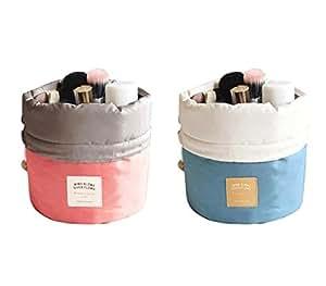 2 in 1 Waterproof Travel Makeup Cosmetic Organizer Toiletry Storage Bag Dresser Pouch Round Cylinder Women Makeup Bag Girls Wash Bags High Capacity Storage Bag