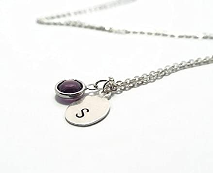 f3cca338b4f0e Amazon.com: Sterling Silver Initial Necklace with Swarovski Crystal ...