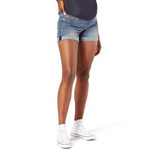 Signature by Levi Strauss & Co. Gold Label Women's Maternity Mid-Rise Shortie Shorts, Blue Ice-Waterless, X-Small