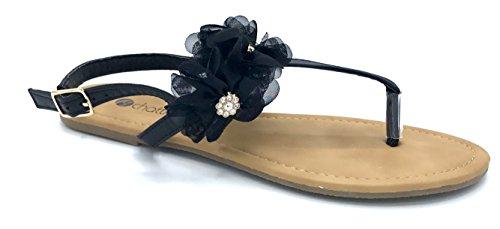 Chatties Ladies PU Thong Sandal With Jeweled Chiffon Flowers Black BNTxe