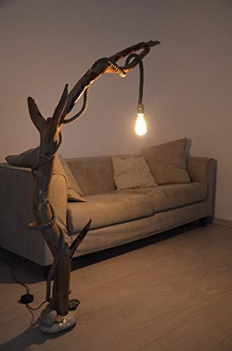 Lámpara de pie en madera a la deriva natural con tronco de árbol ...