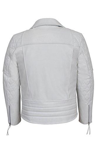 Smart Bianco Biker Rivestimento Pelle Vellutata 'rekless' 233 Range Stile Reale In Motociclista N8m0wn