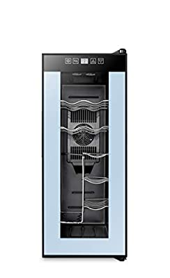 High Life 12 Bottle Wine Cooler Refrigerator with Thermoelectric Cooling, Optimal Drink Temperature, Iceless, Leakproof, Quiet Mini Fridge, Vertical and Horizontal Storage