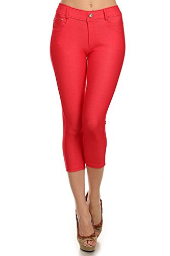 Belle Donne - Women's Pants Capri Jeggings Cotton Blend Solid Colors-Red/3XL