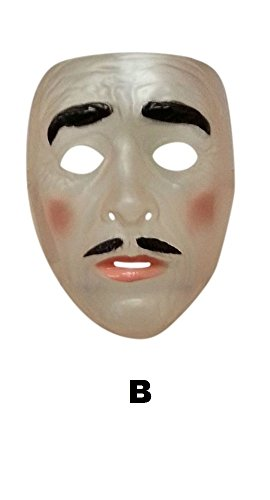 (Male Transparent Mask, Moustache, Plastic, The Purge, Halloween Fancy Dress)