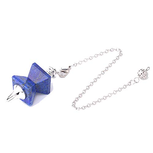 (DLNCTD Natural Stone Swing Dowsing Pendulum Funnel Shaped Symmetry Splice Pyramid Healing Pendant Wicca Pendule for Women Men F763)